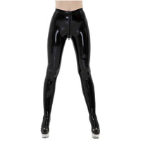 Fashion Women 2018 Sexy Black Latex Tight Trousers with Socks Fetish Rubber Pants Front Zipper Plus Size Hot sale