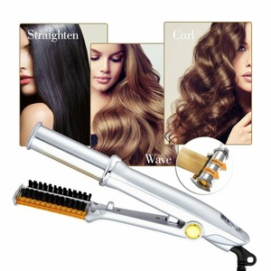 Image 3 - Pro 3 in 1 2 Way Rotating Curling Iron Hair Brush Curler Straightener New