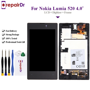 5PCS For Nokia lumia 520 LCD Display For Nokia lumia 520 Touch Screen Digitizer Assembly With Frame Replacement Parts 4.0'' N520