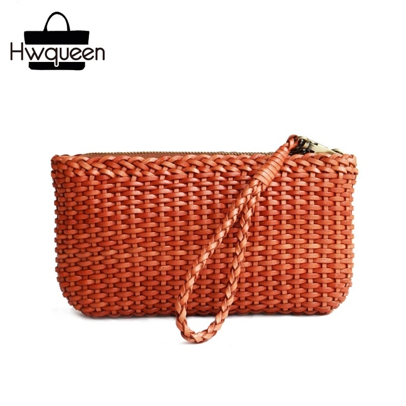 Knitting Designer Genuine Cow Leather Girls Ladies Small Woven Wristlets Bag Vintage Handmade Female Women's Day Clutches Purse country style genuine leather women small knitting designer totes bag top handle basket handbag ladies woven colorful purse bag