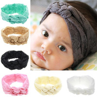 Factory Supply 7 PC Baby Turban Headbands Lovely Kids Lace Hair Accessories Girls Elastic Hair Band