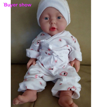 41 cm Full silicone reborn baby doll bath doll toy for children black or white baby skin with clothes reborn bonecas de silicone