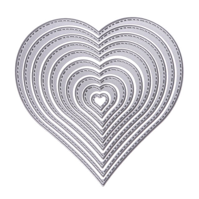 10 teile/satz Stanzformen Heart nähgarn Stanzformen Schablone Für DIY Scrapbooking Album Dekorative Präge Papier Karte Handwerk