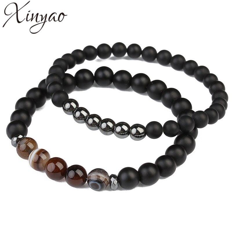 XINYAO 2017 2pcs Natural Black Agates Stone Beads Bracelets Fashion Hematite Charm Bracelet For Men Pulseira Masculina F5528 bracelets for bead bracelet charm bracelet - title=