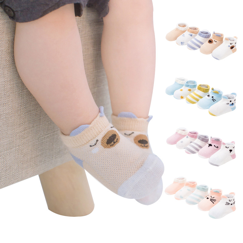 Cute Cartoon Baby Socks Summer Mesh Ankle Length Cotton Unisex Newborn Socks Bear Dog Cat Baby Stuff for 0-5 Years 5 Pairs