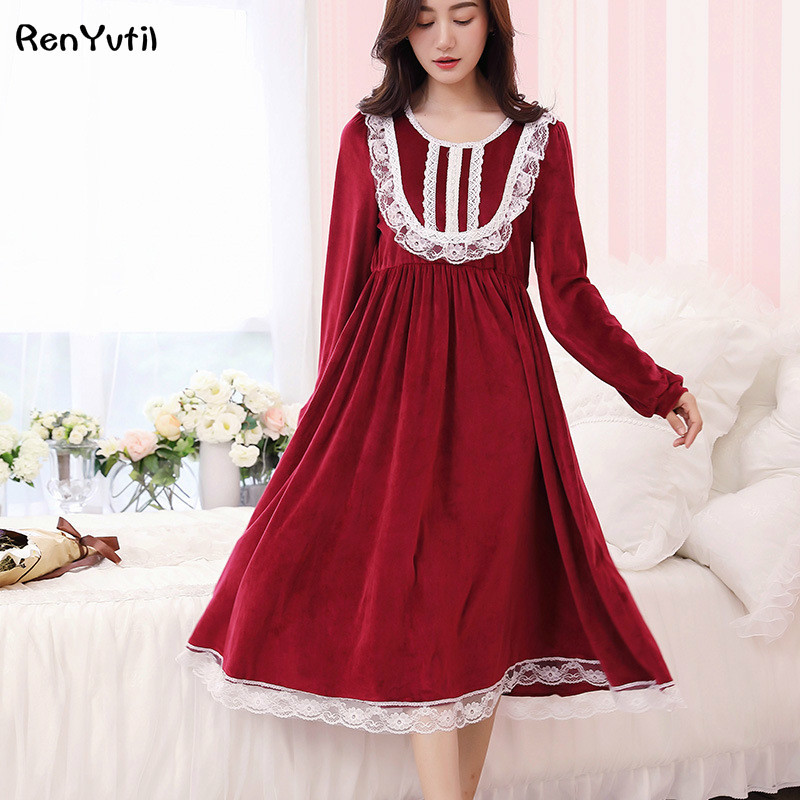 RenYvtil Velvet New Vintage Nightgowns Sleepshirts Elegant Lady Dresses Princess Sleepwear Lace Home Dress Sexy Sleep