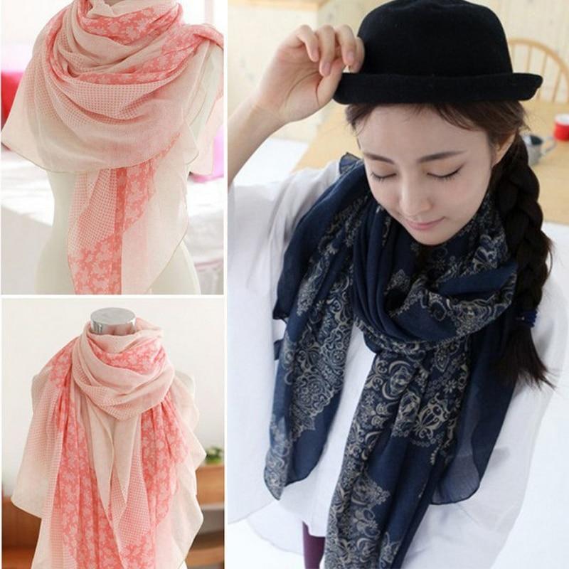 Women Scarves Soft Silk Floss Scarfs Wrap Shawl Stole Scarve Pashmina Xmas Gift Striped Dot Shawls Bandana Hijab Foulard Bufanda