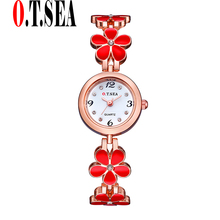Sizzling O.T.SEA Model 4-leaf clover Rose Gold Watches Girls Women Gown Quartz Wristwatches Relogios Feminino OTS029