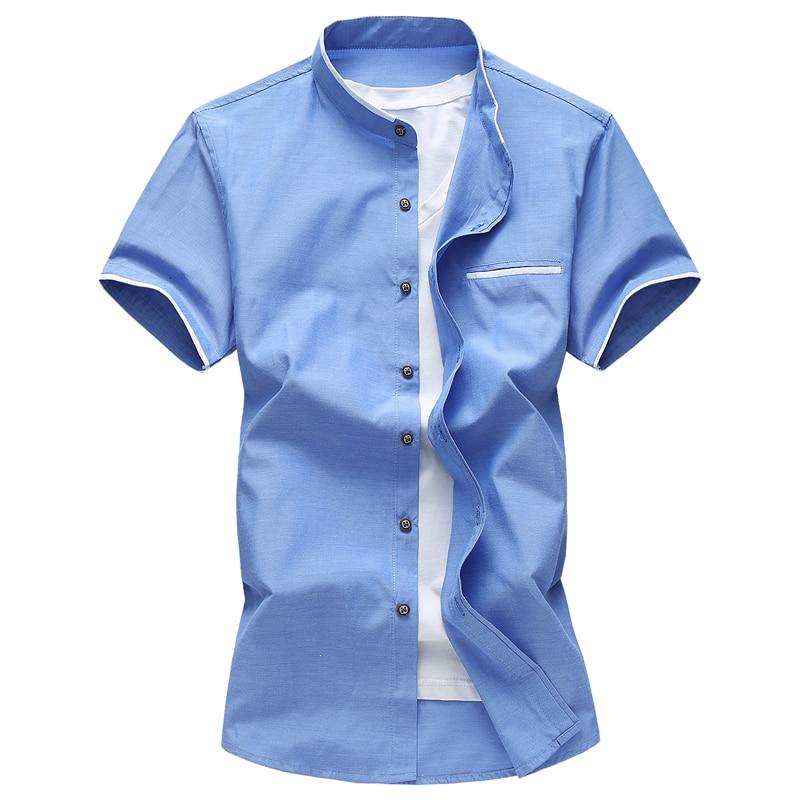 Zomer M-7xl Casual Korte Mouwen Dunne Zomer Voor Mannen Big Size Classic Katoen Streetwear Turn-down Kraag Vest Shirt