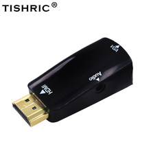TISHRIC Male to Female for HDMI to VGA Converter With Audio Cable for PC Laptop Tablet Support 1080P HDTV Adapter(China)