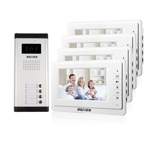 Big sale FREE SHIPPING New 7″ Video Intercom Apartment Door Phone System 4 Screen 700TVL Camera for 4 Household In Stock Wholesale