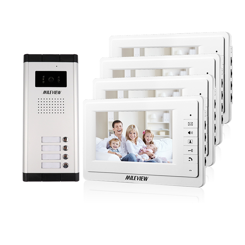 FREE SHIPPING New 7 Video Intercom Apartment Door Phone System 4 Screen 700TVL Camera for 4 Household In Stock Wholesale