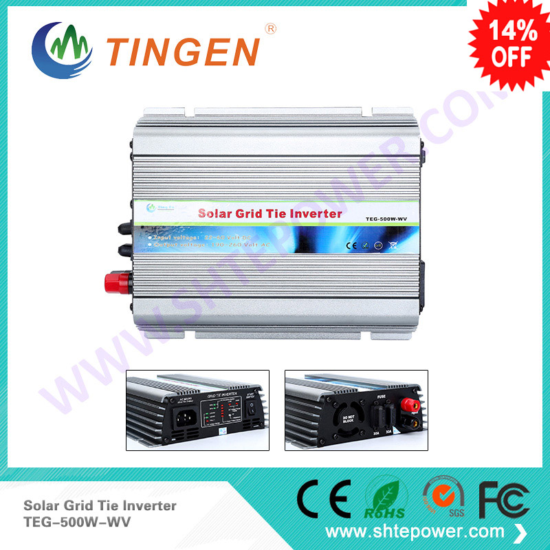 solar panel power Dc 22-60v input on grid tie inverter 500w to ac output 90-130v or 190-260v mppt funciton 500w solar inverters 85 125v grid tie inverter to ac120v or 230v high efficiency for 72v battery adjustable power output