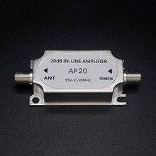 Amplificador satelital en línea de 20dB, amplificador de señal de 950 2150MHZ para antena de red de plato, Cable de potencia de canal de funcionamiento