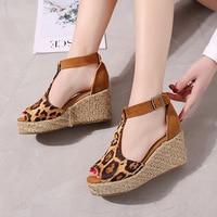 XIAXUEER Women Ankle Buckle Peep Toe Slope heel Shose 8cm Female Comfort Fashion Pumps Leopard Print S