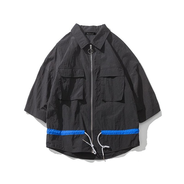 YINOS Sun Protection Clothing Men Jacket Icon Ring Zipper WindBreaker Three Quarter Sleeve Male Outwear Summer Lightweight Coat