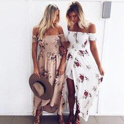 Бохо стиль длинное платье для женщин с открытыми плечами пляжные летние платья цветочный принт Винтаж шифон белое Макси Платье vestidos de festa