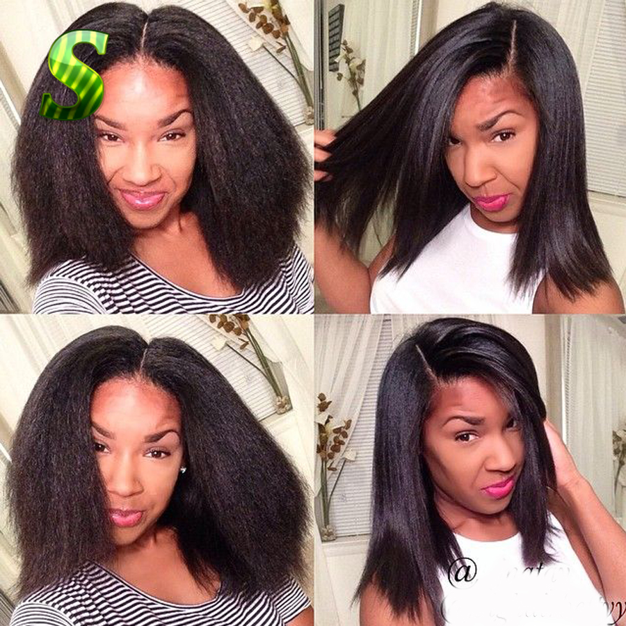Kinky Straight Full Lace Wig Italian Coarse Yaki Full Lace Human Hair Wigs  For Black Women Glueless Lace Front Human Hair Wigs 79a1127a0a