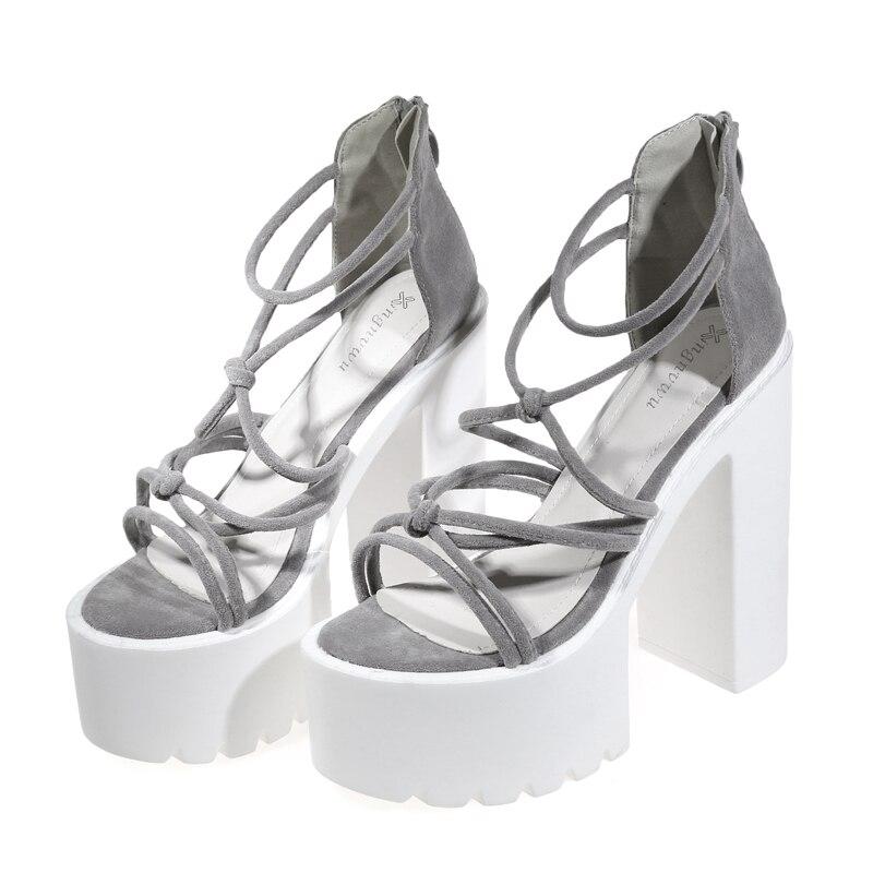 Women Shoes Sandals High Heel 14.5cm Vintage Design Ankle Straps Open Toe Summer Shoes Thick High Heels Platform Sandals
