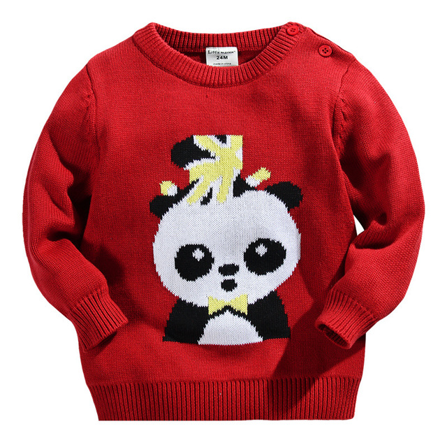 0da2ba43a Boy sweaters red colour cartoon panda toddler boys sweater cotton ...