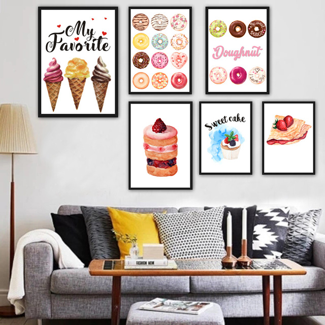 Kitchen Wall Art Decor Island Dining Table Combo Ice Cream Coconut Cupcake Dessert Poster And Prints For Picture Canvas Painting Restaurant Mural
