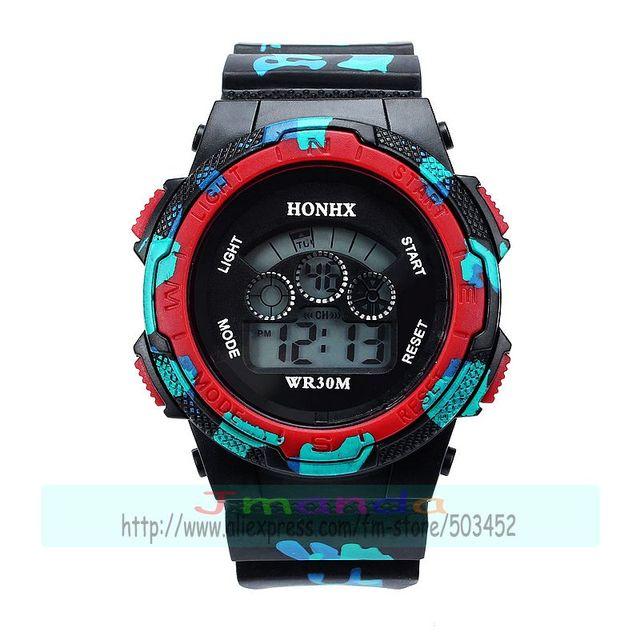 100pcs/lot HONHX-76 camo style student digital watch sport led watch for kids wholesale silicone watch clock | Fotoflaco.net