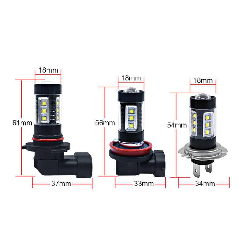 Anmingpu 2x Противотуманные фары Дневные Фары Лампы H8 H11 светодиодный лампы H7 H1 H3 HB4 9006 HB3 9005 светодиодный туман светильник 6000K белый 16SMD H16 H11 светодиодный 3000 К автомобильный светильник