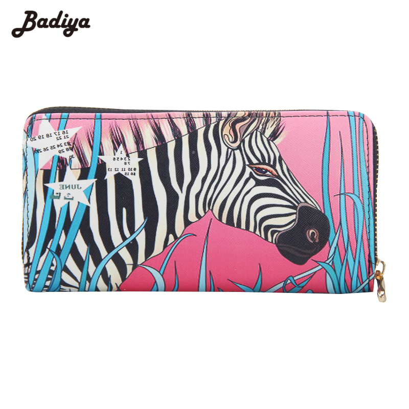 Brief Design Ladies Graffiti Zebra Wallet High Quality Long Wallet Purse Multifunction PU Leather Card Holder With Phone Pocker moana maui high quality pu short wallet purse with button