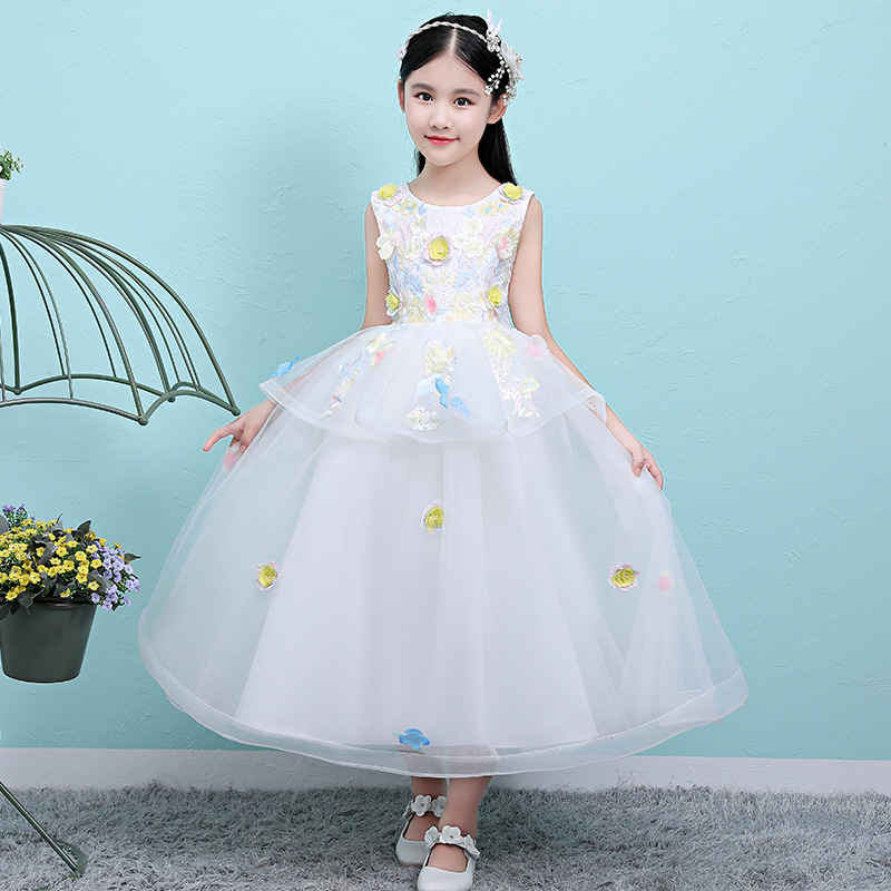 Children Kids Snow White Color Embroidery Flowers Birthday Evening Party Ball Gown Mesh Dress Luxury Kids Teens Pageant Dress flounce mesh insert embroidery dress