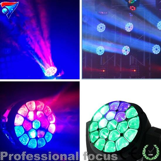 Бесплатная доставка 2 шт./лот 19x15 Вт светодиодный Большой пчелы глаз Zoom перемещение головного света диско освещения DJ оборудование сцены