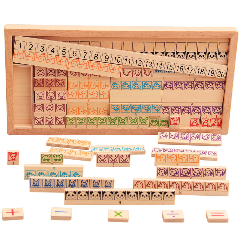 цена на Kids Montessori Wooden Toys Math Toy Arithmetic Addition Subtraction Multiplication Early Learning Teaching Math Shape Cognition