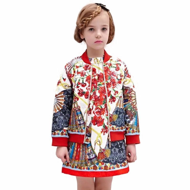 Nová 2-6T klasická jarní podzimní dětská svrchní oblečení a kabátová módní vysoce kvalitní národní bunda pro dívky