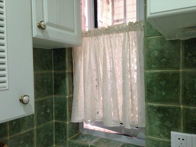 Cafe nieuwe beige korte gordijn kant keuken vitrages tule venster