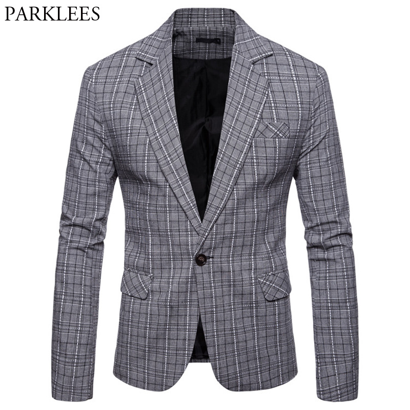 Fashion Glen Plaid Blazer Jacket Men 2018 Spring Autumn New One Button Blazers Men Suits Causal Buisness Formal Blazer Masculino