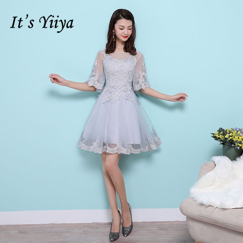 It's YiiYa Elegant Half Sleeve Backless Lace Embroidery Cocktail Dress Knee Length Formal Dress Party Gown MX020