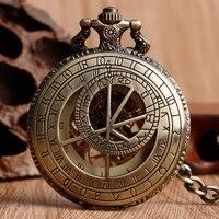 Bronce de la vendimia Zodiaco Constelación Compás de Cobre Reloj de Bolsillo Mecánico De Cuerda Esqueleto Hueco Exquisito De La Manera Hombres de Las Mujeres