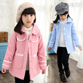 2016 Toddler Girls New Korean Winter Style Fashion Solid Pink/Blue Color Single Breasted Thickening Turn Down Collar Coats
