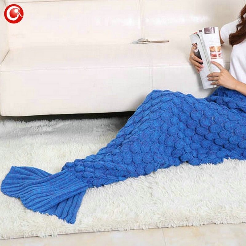 Baby Knitted Crochet Mermaid Blanket For Mother&Baby Infant Newborn Handmade Bed Wrap Throw Sleeping Bag Soft (21)