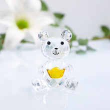 H&D Cute Bear Crystal Figurine With Gold Ingot Collection Ornament Glass Animal Miniature Love Romantic Gifts Home Decoration(China)