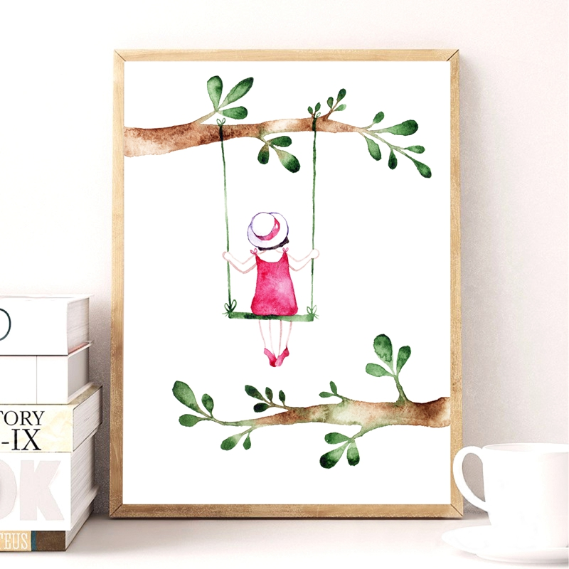 Pastoral Style Spring Girl Art Print Pictures , Watercolor ...