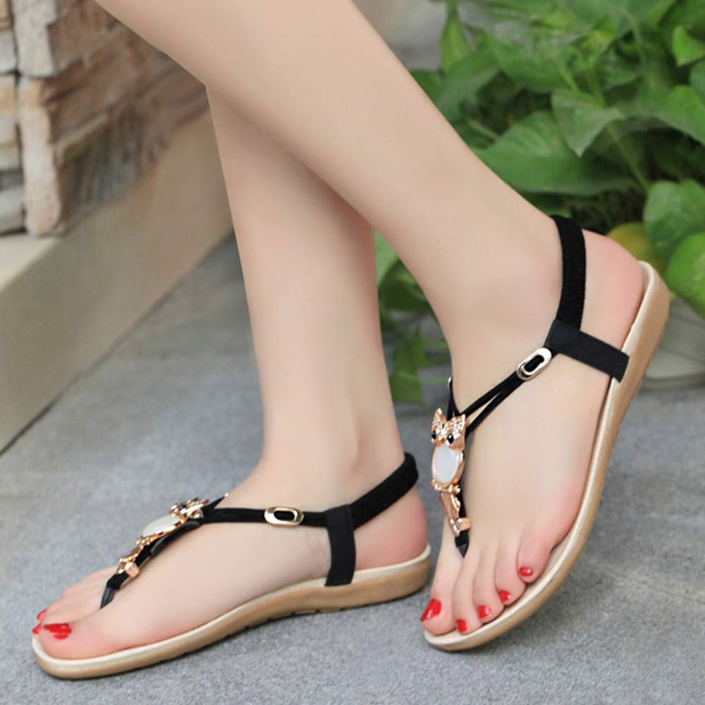 Women's Sandals Wedges String Flip-Flops Elastic-Band Beach-Shoes Low-Heel Summer Ladies