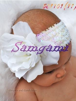 Wholesale - Crochet head band bow clip flower Crochet girls Hair bands hairpins baby hair--DYQ702A