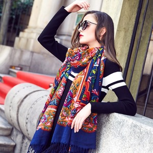 Image 4 - 2019 Wool Square Head Scarves Women Elegant Lady Carf And Warm Shawl Long Animal Print Stoles Bandana Scarf Hijab Beach Blanket