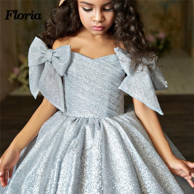 New Bling Ball Gown Long   Flower     Girl     Dress   Vestidos deminha 2019 Elegant First Communion   Dresses   For Weddings Kids Evening Gowns