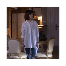 Autumn ladies new loose cotton long shirt urban casual cardigan sleeve single-breasted wild
