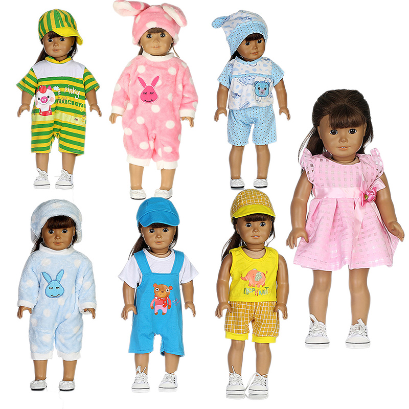 Fashion 7 Sets Clothes Outfits Suitable for 18'' American Girl Doll Colorful Tops+ Pants With Hat Dress Pajamas Christmas Gift [mmmaww] christmas costume clothes for 18 45cm american girl doll santa sets with hat for alexander doll baby girl gift toy