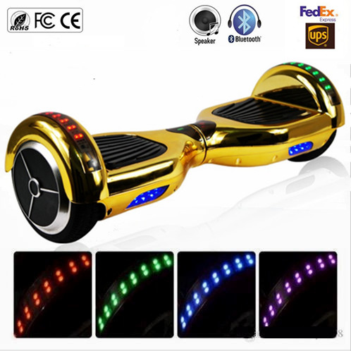 6 5 inch Chrome Gold Two Wheels Bluetooth font b Hoverboard b font LED Lights Electric