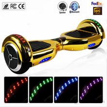 6.5 inch Chrome Gold Two Wheels Bluetooth Hoverboard LED Lights Electric Scooters Self Balancing Scooter with Remote Control Key