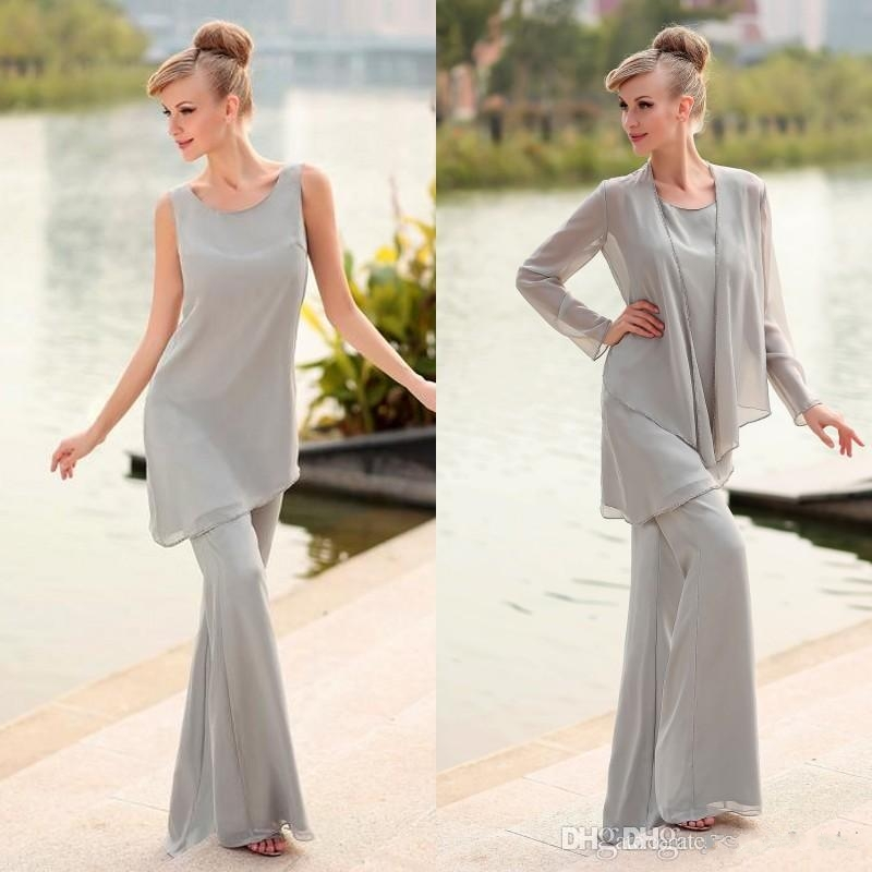 2017 mother of the bride 3 piece pant suit chiffon beach for Wedding dresses for mother of bride