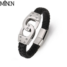 MINCN punk style mens bracelet leather stainless steel black braided Johnny Harley